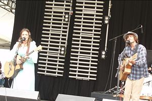 Angus and Julia Stone performing at Marion Bay, Tasmania.