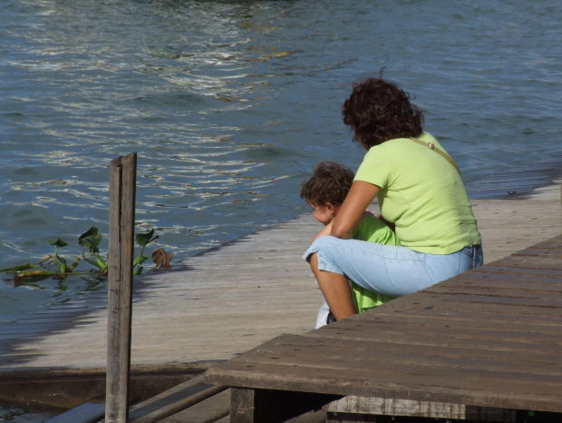 public domain images of mother and child looking at pond